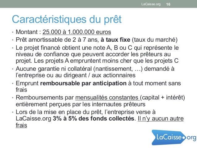 Caractéristiques du prêt • Montant : 25.000 à 1.000.000 euros • Prêt amortissable de 2 à 7 ans, à taux fixe (taux du mar...
