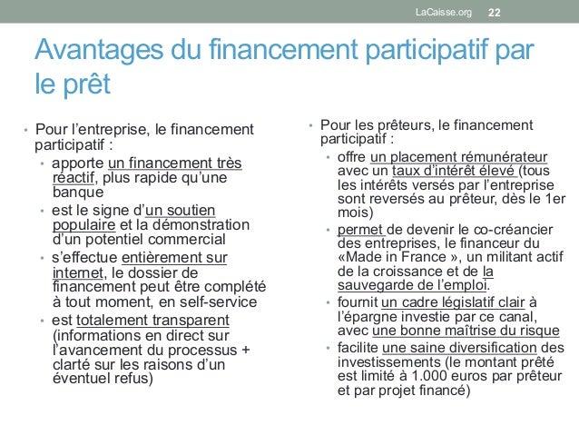 Avantages du financement participatif par le prêt • Pour l'entreprise, le financement participatif : • apporte un financ...