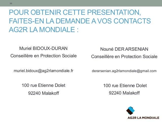 POUR OBTENIR CETTE PRESENTATION, FAITES-EN LA DEMANDE A VOS CONTACTS AG2R LA MONDIALE : 30 Muriel BIDOUX-DURAN Conseillère...