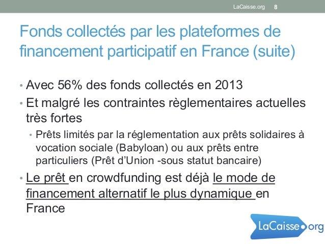 Fonds collectés par les plateformes de financement participatif en France (suite) 8 •Avec 56% des fonds collectés en 2013...