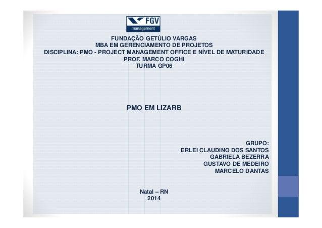 FUNDAÇÃO GETÚLIO VARGAS MBA EM GERENCIAMENTO DE PROJETOS DISCIPLINA: PMO - PROJECT MANAGEMENT OFFICE E NÍVEL DE MATURIDADE...