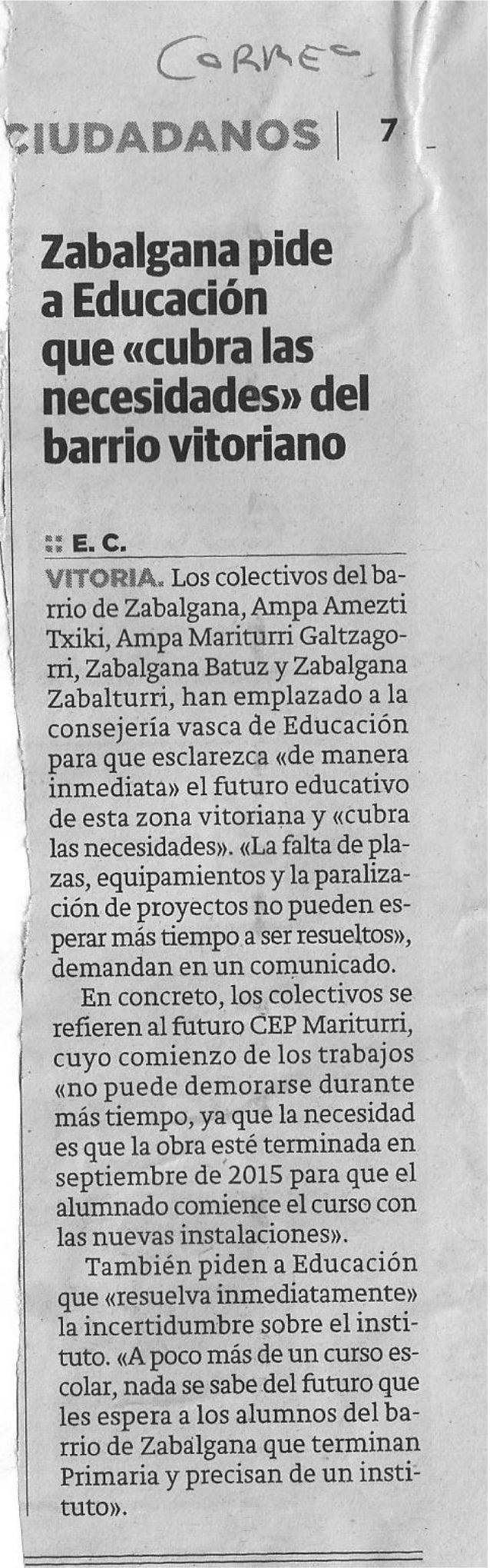 Zabalgana pide a educación que cubra las necesidades educativas del barrio. El Correo 2014/05/23
