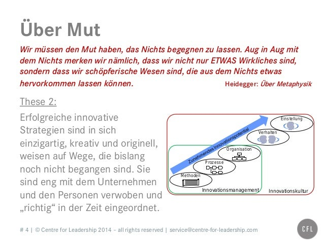 # 4   © Centre for Leadership 2014 – all rights reserved   service@centre-for-leadership.com Über Mut Wir müssen den Mut h...