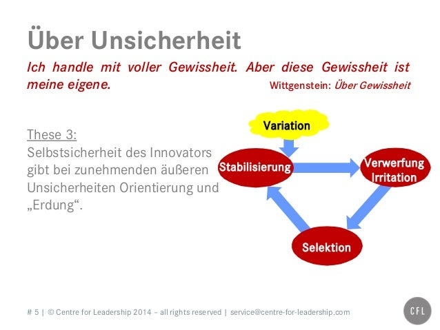 # 5   © Centre for Leadership 2014 – all rights reserved   service@centre-for-leadership.com Über Unsicherheit Ich handle ...