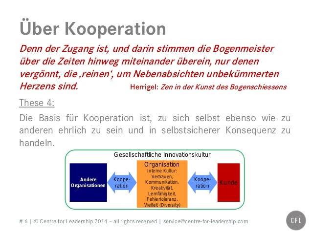 # 6   © Centre for Leadership 2014 – all rights reserved   service@centre-for-leadership.com Über Kooperation Denn der Zug...