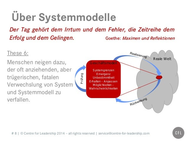 # 8   © Centre for Leadership 2014 – all rights reserved   service@centre-for-leadership.com Über Systemmodelle Der Tag ge...