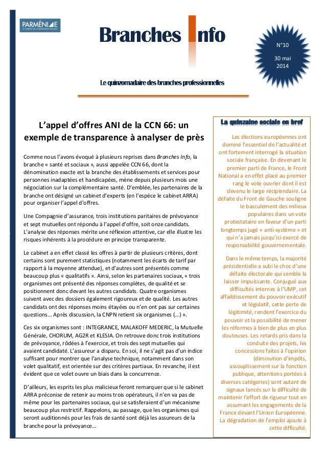 1    BranchesInfoestunepublicationdeParménide Branches Info N°10 30mai2014 N°10   30  mai   2014   Les  électi...
