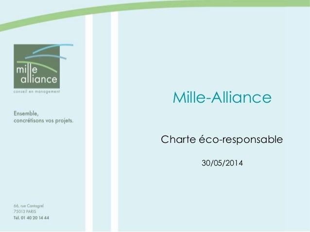 Mille-Alliance Charte éco-responsable 30/05/2014