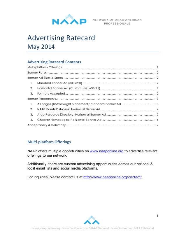 www.naaponline.org | www.facebook.com/NAAPNational | www.twitter.com/NAAPNational   1   Advertising  Ratecard...