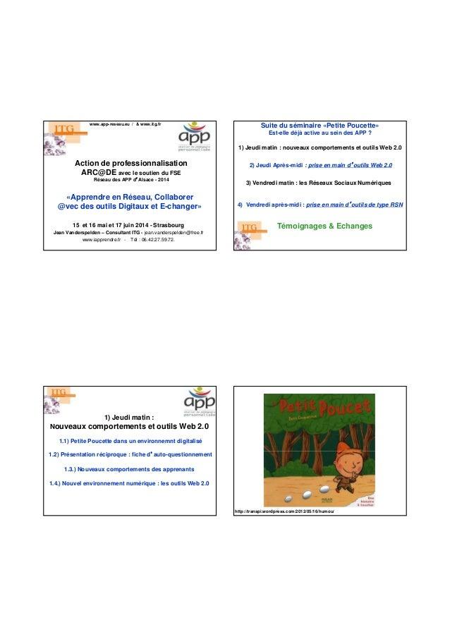 Action de professionnalisation ARC@DE avec le soutien du FSE Réseau des APP d'Alsace - 2014 www.app-reseau.eu / & www.itg....