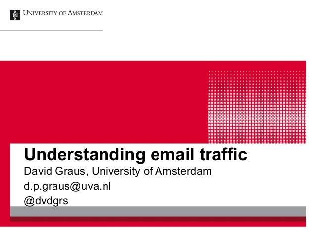 Understanding email traffic David Graus, University of Amsterdam d.p.graus@uva.nl @dvdgrs
