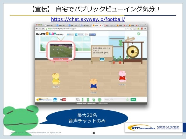 Copyright © NTT Communications Corporation. All right reserved. 【宣伝】 自宅でパブリックビューイング気分!! 10 https://chat.skyway.io/football...