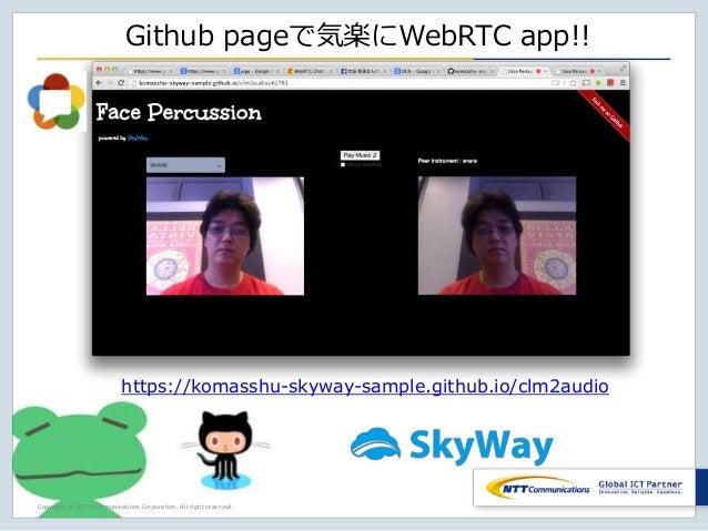 Copyright © NTT Communications Corporation. All right reserved. Github pageで気楽にWebRTC app!! https://komasshu-skyway-sample...