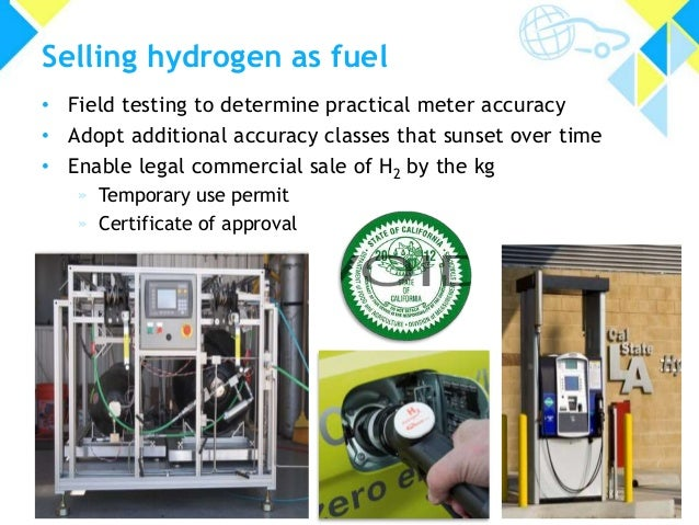 Selling hydrogen as fuel • Field testing to determine practical meter accuracy • Adopt additional accuracy classes that su...