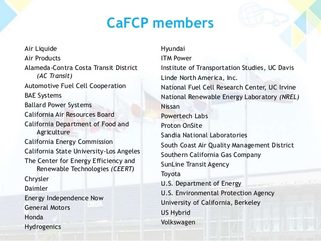 CaFCP members Air Liquide Air Products Alameda-Contra Costa Transit District (AC Transit) Automotive Fuel Cell Cooperation...