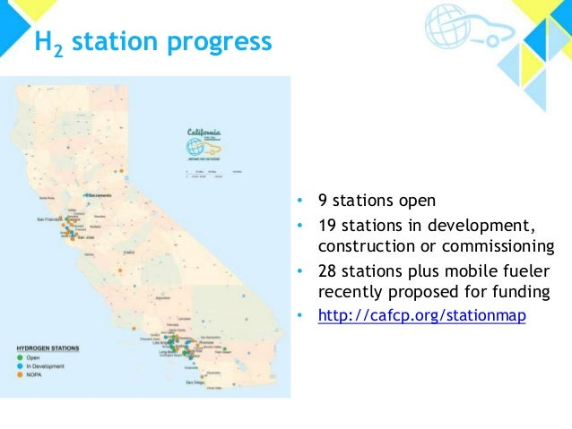 H2 station progress • 9 stations open • 19 stations in development, construction or commissioning • 28 stations plus mobil...