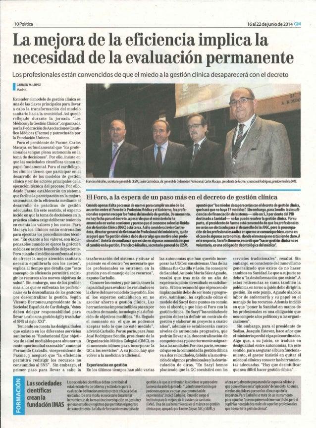 """Jornada """"Los médicos y la Gestión Clínica"""". Resumen de prensa."""