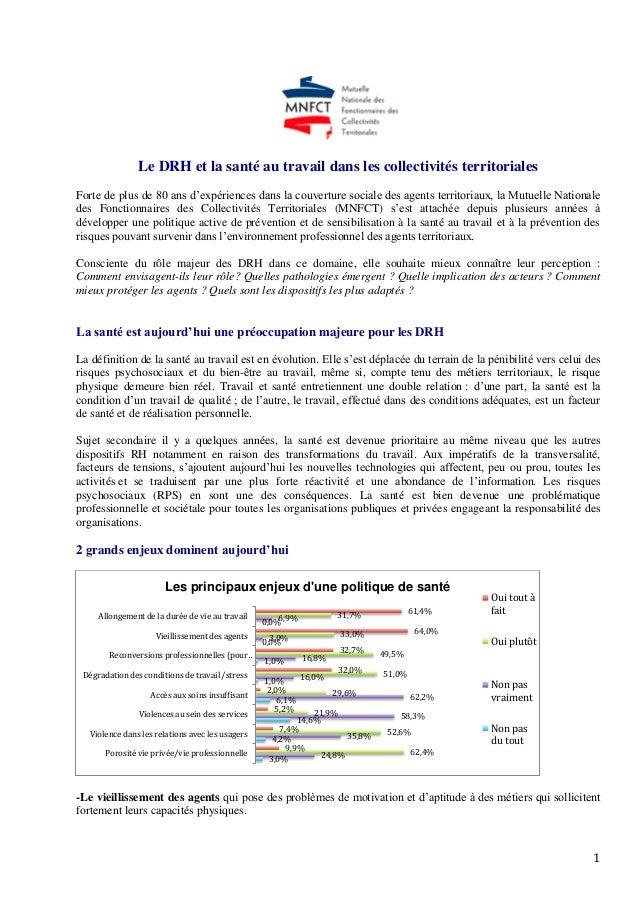 1 Le DRH et la santé au travail dans les collectivités territoriales Forte de plus de 80 ans d'expériences dans la couvert...