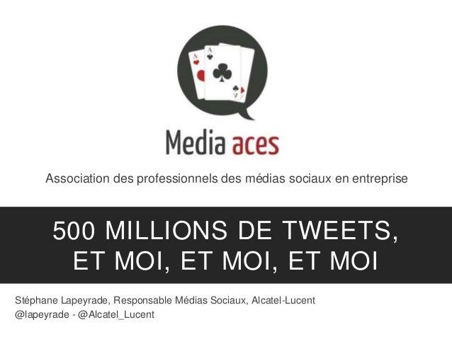 Association des professionnels des médias sociaux en entreprise 500 MILLIONS DE TWEETS, ET MOI, ET MOI, ET MOI Stéphane La...