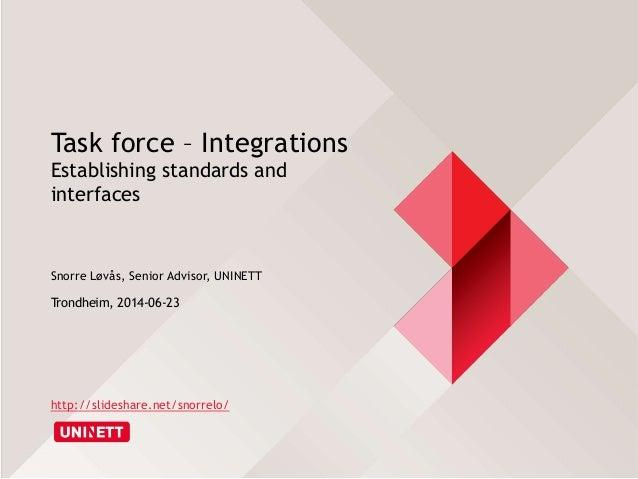Task force – Integrations Establishing standards and interfaces Snorre Løvås, Senior Advisor, UNINETT Trondheim, 2014-06-2...