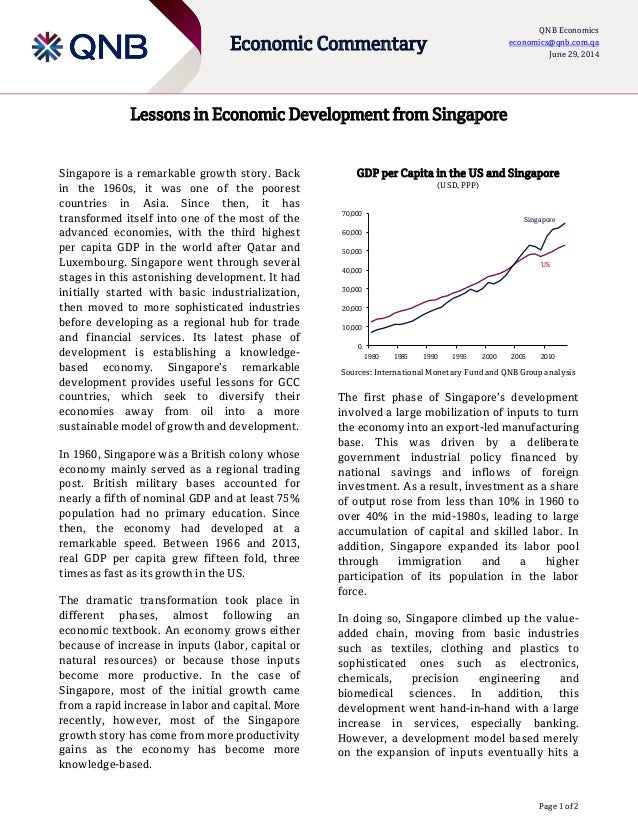 Page 1 of 2 Economic Commentary QNB Economics economics@qnb.com.qa June 29, 2014 Lessons in Economic Development from Sing...