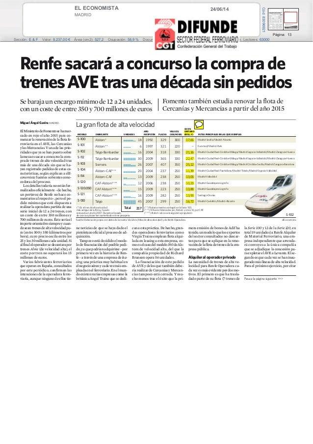 24/06/14EL ECONOMISTA MADRID Prensa: Diaria Tirada: 29.227 Ejemplares Difusión: 18.602 Ejemplares Página: 13 Sección: E & ...