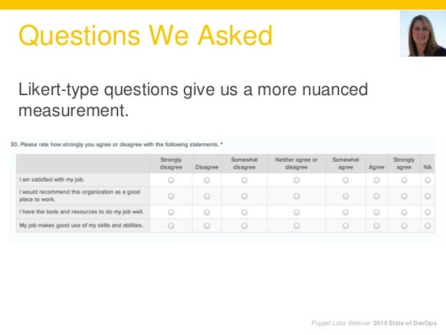 Questions We Asked Puppet Labs Webinar 2014 State of DevOps Likert-type questions give us a more nuanced measurement.