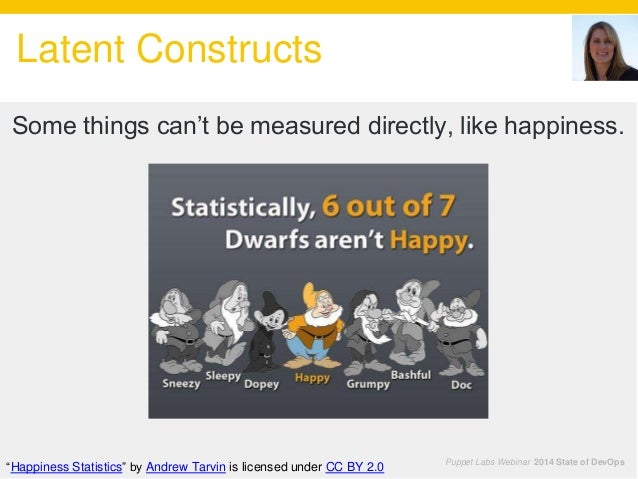 """Latent Constructs Puppet Labs Webinar 2014 State of DevOps Some things can't be measured directly, like happiness. """"Happin..."""