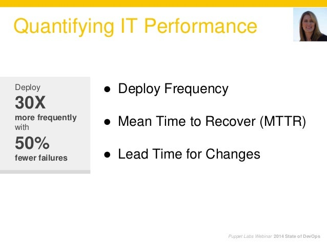 Quantifying IT Performance Puppet Labs Webinar 2014 State of DevOps Deploy 30X more frequently with 50% fewer failures ● D...