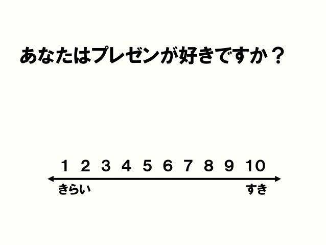 あなたはプレゼンが好きですか? 1 2 3 4 5 6 7 8 9 10 きらい すき