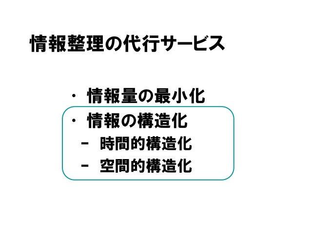 情報整理の代行サービス • 情報量の最小化 • 情報の構造化 – 時間的構造化 – 空間的構造化