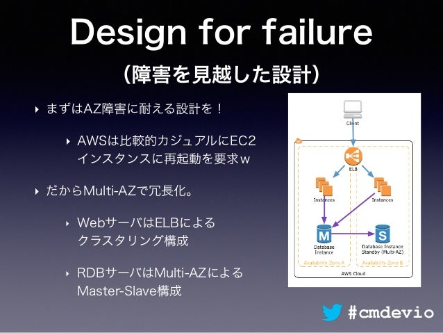 Design for failure (障害を見越した設計) ‣ まずはAZ障害に耐える設計を! ‣ AWSは比較的カジュアルにEC2 インスタンスに再起動を要求w ‣ だからMulti-AZで冗長化。 ‣ WebサーバはELBによる クラス...