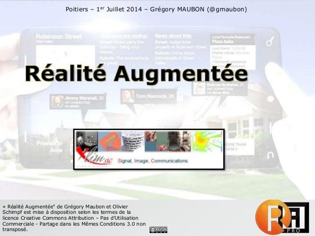 """« Réalité Augmentée"""" de Grégory Maubon et Olivier Schimpf est mise à disposition selon les termes de la licence Creative C..."""
