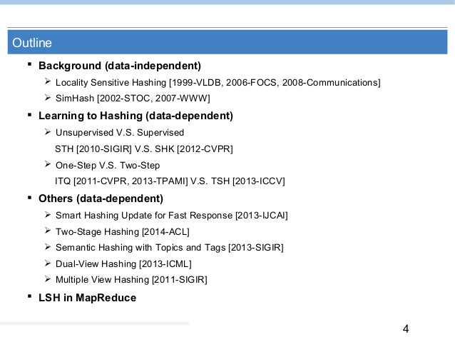 4 Outline  Background (data-independent)  Locality Sensitive Hashing [1999-VLDB, 2006-FOCS, 2008-Communications]  SimHa...
