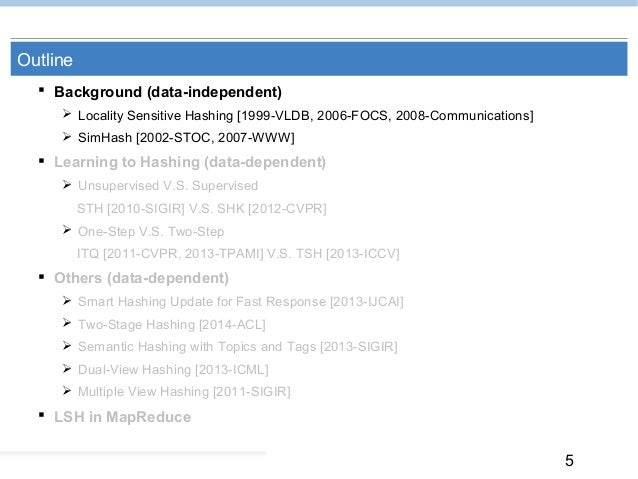 5 Outline  Background (data-independent)  Locality Sensitive Hashing [1999-VLDB, 2006-FOCS, 2008-Communications]  SimHa...