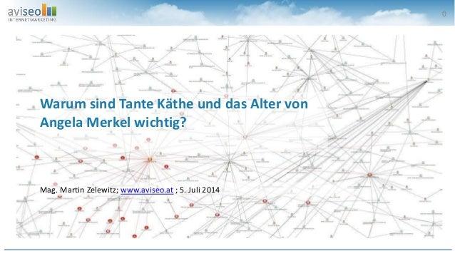 0 Mag. Martin Zelewitz; www.aviseo.at ; 5. Juli 2014 Warum sind Tante Käthe und das Alter von Angela Merkel wichtig?