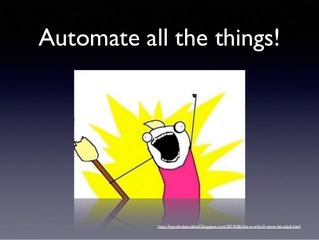 • Application startup  • Configuration  • Code deployment • System deployment Automate all the things!