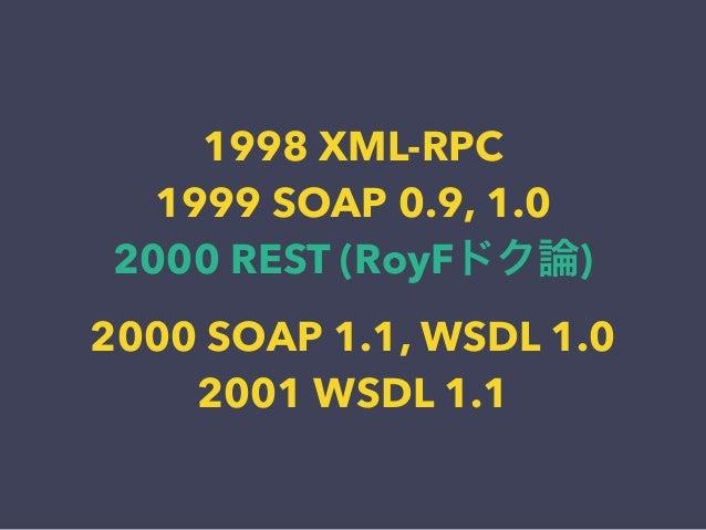 1998 XML-RPC 1999 SOAP 0.9, 1.0 2000 REST (RoyFドク論) 2000 SOAP 1.1, WSDL 1.0 2001 WSDL 1.1