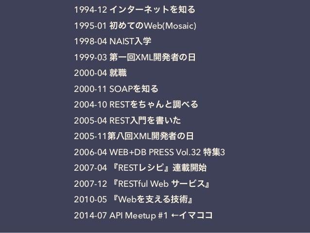1994-12 インターネットを知る 1995-01 初めてのWeb(Mosaic) 1998-04 NAIST入学 1999-03 第一回XML開発者の日 2000-04 就職 2000-11 SOAPを知る 2004-10 RESTをちゃん...