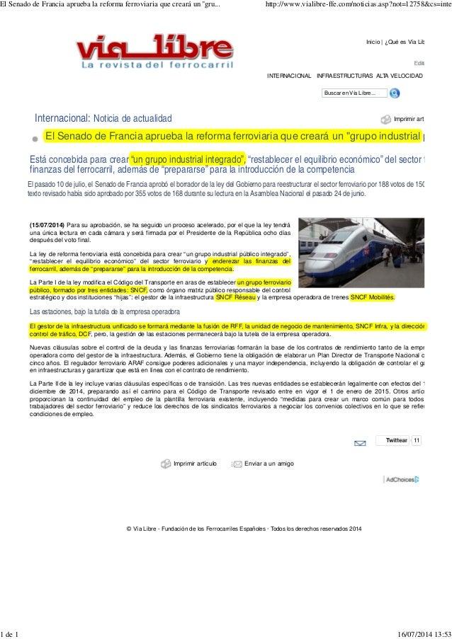 Buscar en Vía Libre... Imprimir art Inicio | ¿Qué es Vía Lib Internacional: Noticia de actualidad El Senado de Francia apr...