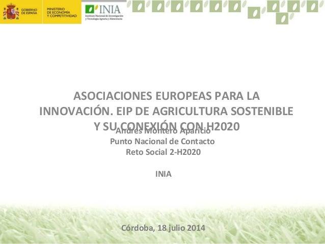 ASOCIACIONES EUROPEAS PARA LA INNOVACIÓN. EIP DE AGRICULTURA SOSTENIBLE Y SU CONEXIÓN CON H2020Andrés Montero Aparicio Pun...