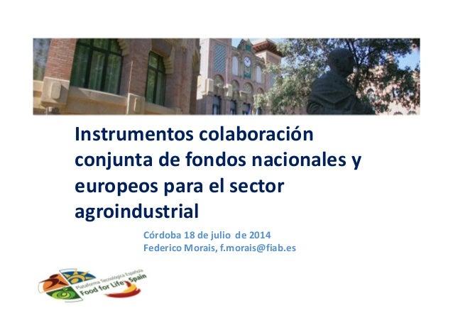 Instrumentos colaboración conjunta de fondos nacionales y europeos para el sector agroindustrial Córdoba 18 de julio de 20...