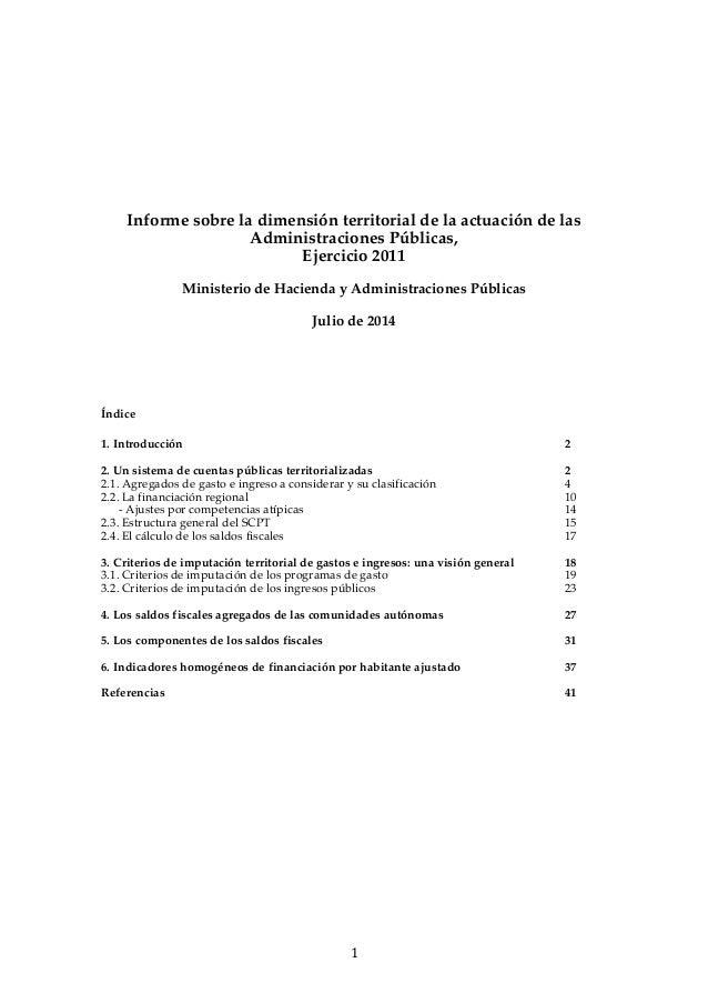 Dimensión Territorial de la Actuación de las AAPP 2011