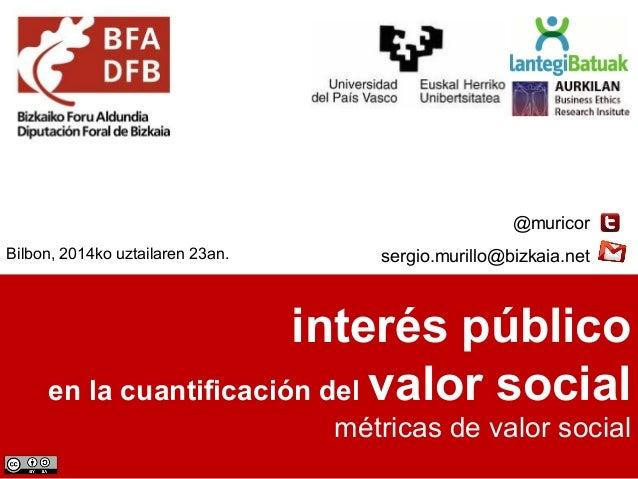 interés público en la cuantificación del valor social métricas de valor social @muricor sergio.murillo@bizkaia.netBilbon, ...