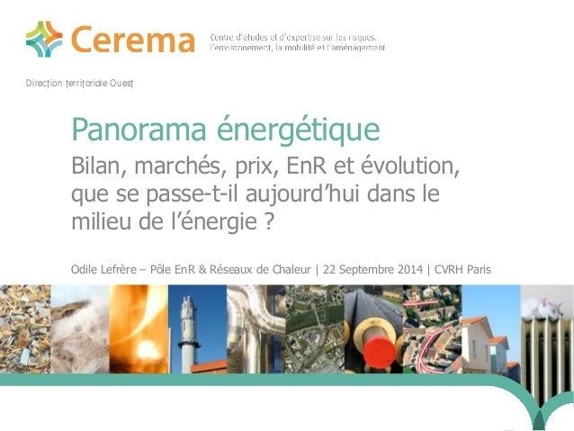 Direction territoriale Ouest  Panorama énergétique  Bilan, marchés, prix, EnR et évolution,  que se passe-t-il aujourd'hui...