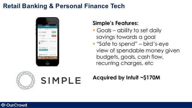 """Simple's Features: §Goals – ability to set daily savings towards a goal §""""Safe to spend"""" – bird's-eye view of spendabl..."""