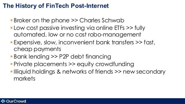 The History of FinTech Post-Internet §Broker on the phone >> Charles Schwab §Low cost passive investing via online ETF...