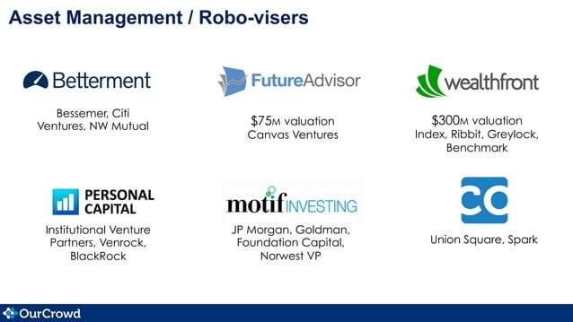 Asset Management / Robo-visers $300M valuation Index, Ribbit, Greylock, Benchmark $75M valuation Canvas Ventures Bessemer,...