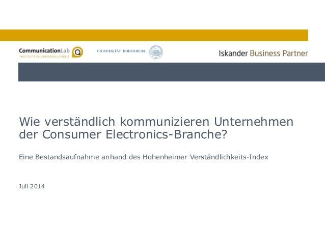 1 Eine Bestandsaufnahme anhand des Hohenheimer Verständlichkeits-Index Wie verständlich kommunizieren Unternehmen der Cons...