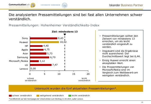 18 Die analysierten Pressemitteilungen sind bei fast allen Unternehmen schwer verständlich. Pressemitteilungen: Hohenheime...